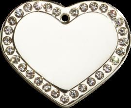 Hundetegn Sølv hjerte m/sten