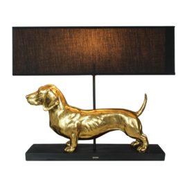 Gravhund lampe, guld