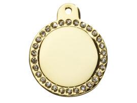 Hundetegn Guld cirkel m/sten