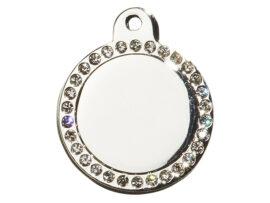 Hundetegn Sølv cirkel m/sten