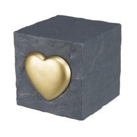 Hundegravsten med hjerte, grå
